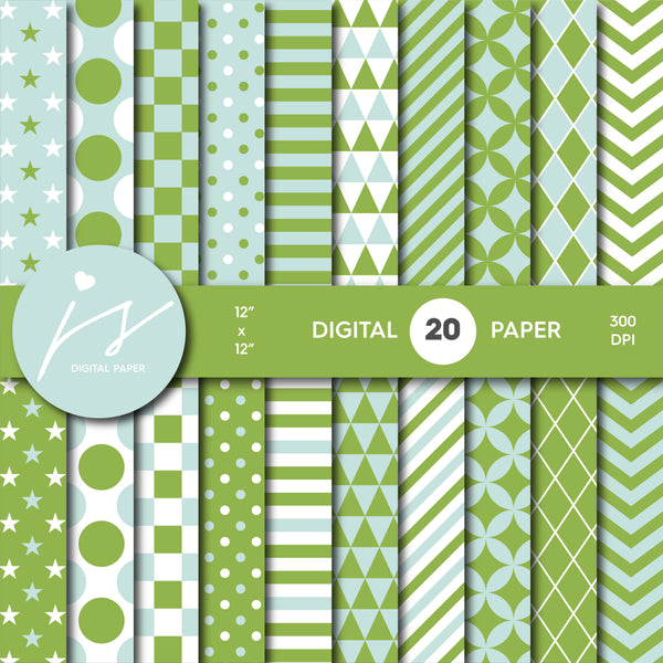 Green and mint digital scrapbooking paper, MI-665