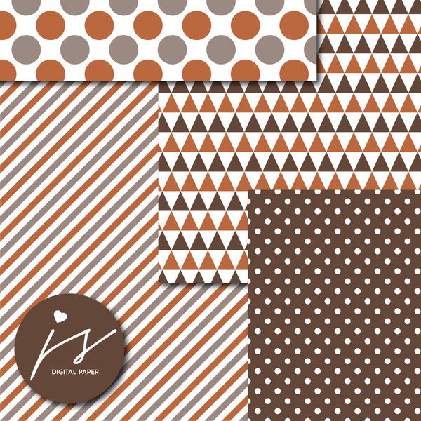 Brown and copper printable digital paper, MI-677