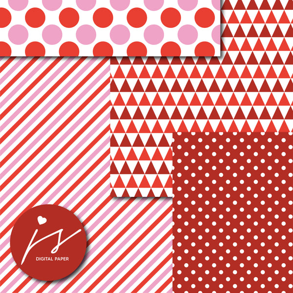 Pink and cherry red digital paper, MI-696