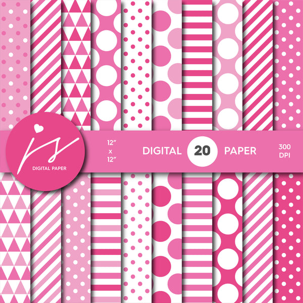 Baby pink and hot pink digital paper, MI-703