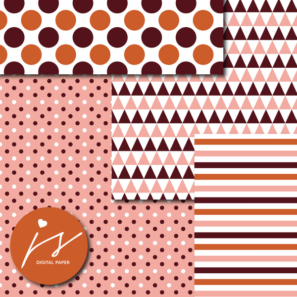 Rose pink and copper digital paper, MI-711