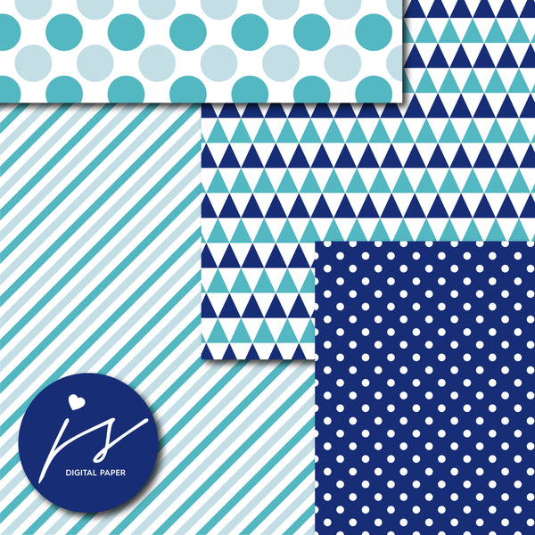 Royal blue and teal digital paper, MI-716