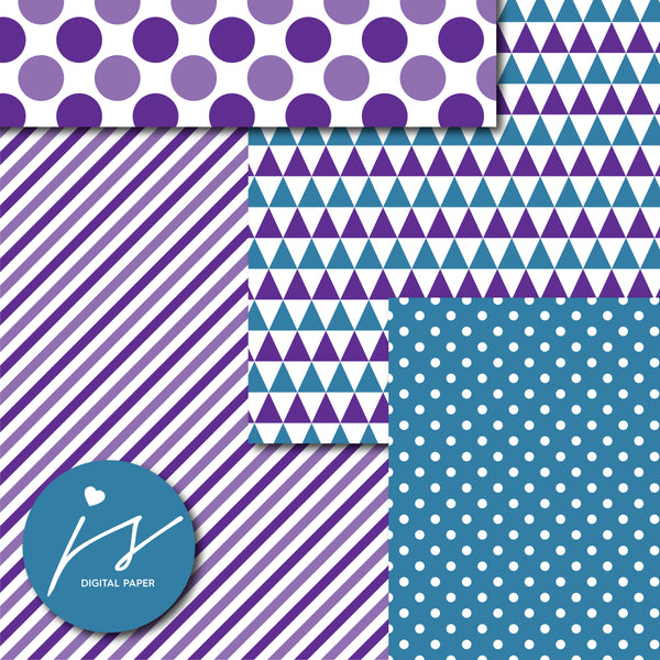 Purple and dark teal digital paper, MI-722