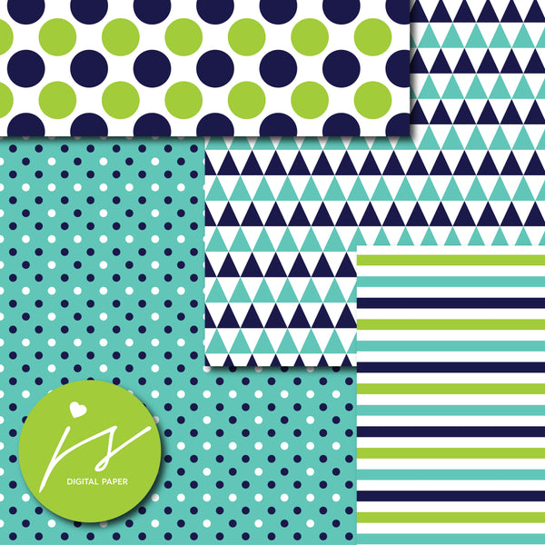 Navy blue and green digital paper, MI-726