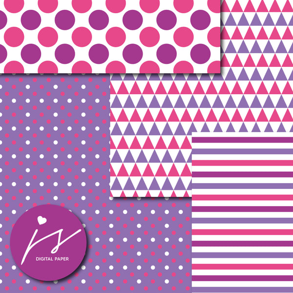 Purple and hot pink digital paper, MI-728