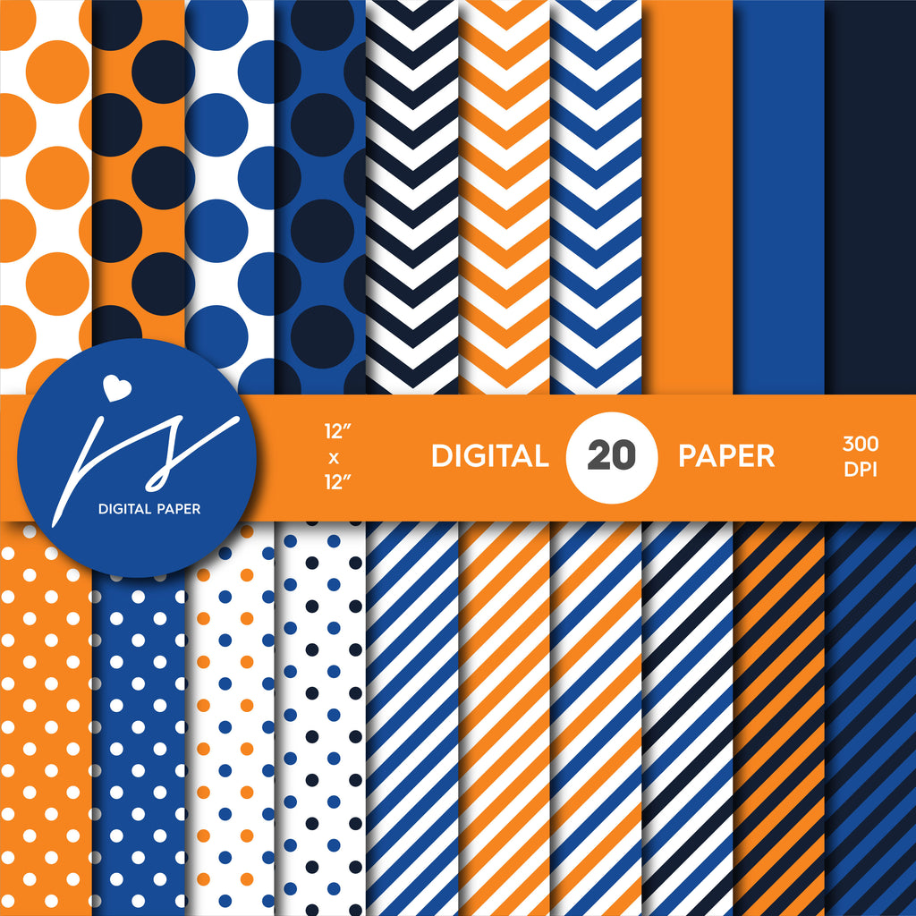 Mandarin orange and royal blue digital paper with stripes, chevron and polka dots, MI-741