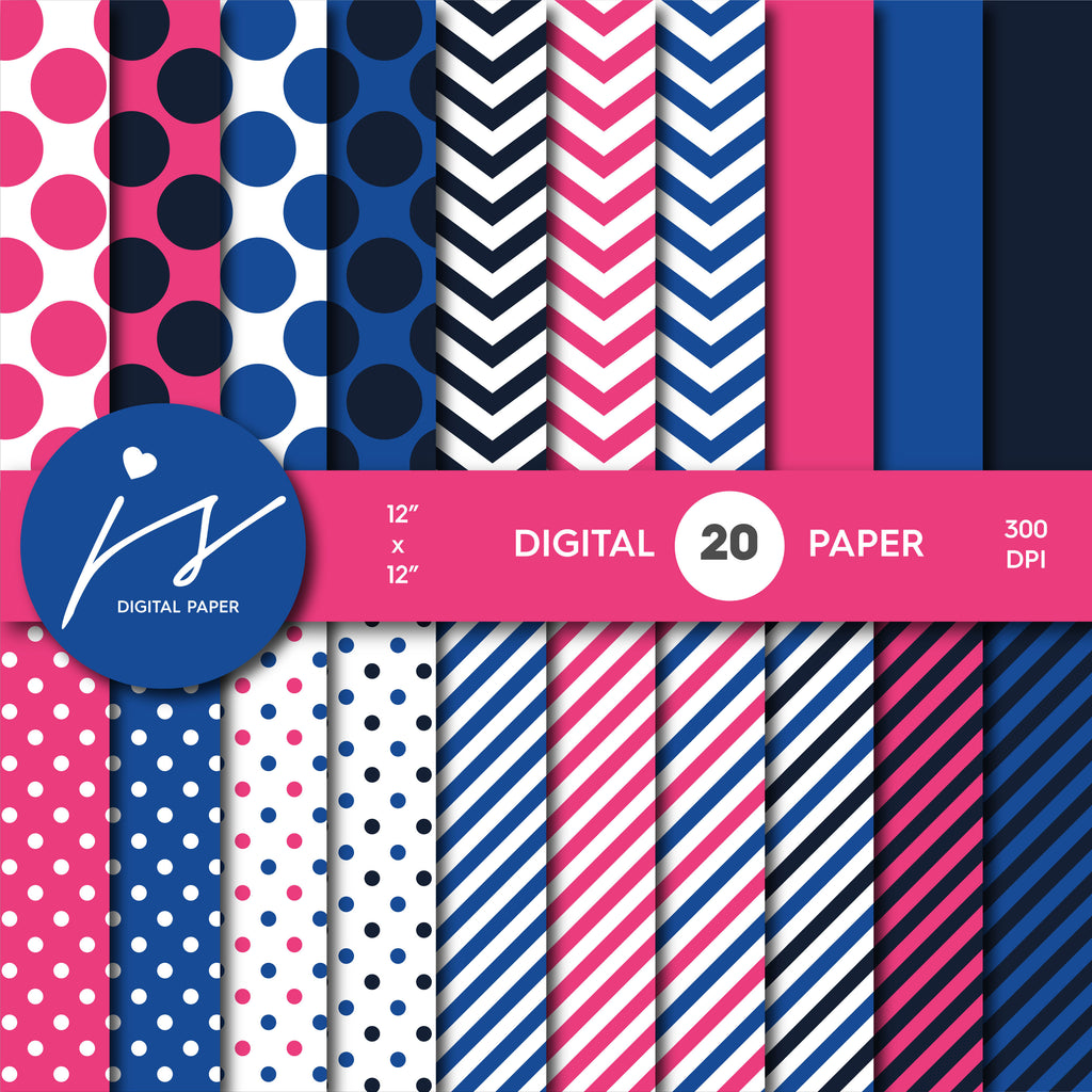 Hot pink and royal blue digital paper with stripes, chevron and polka dots, MI-742