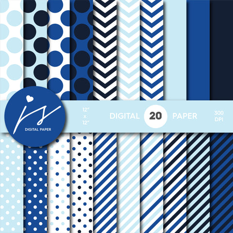 Baby blue and royal blue digital paper with stripes, chevron and polka dots, MI-747