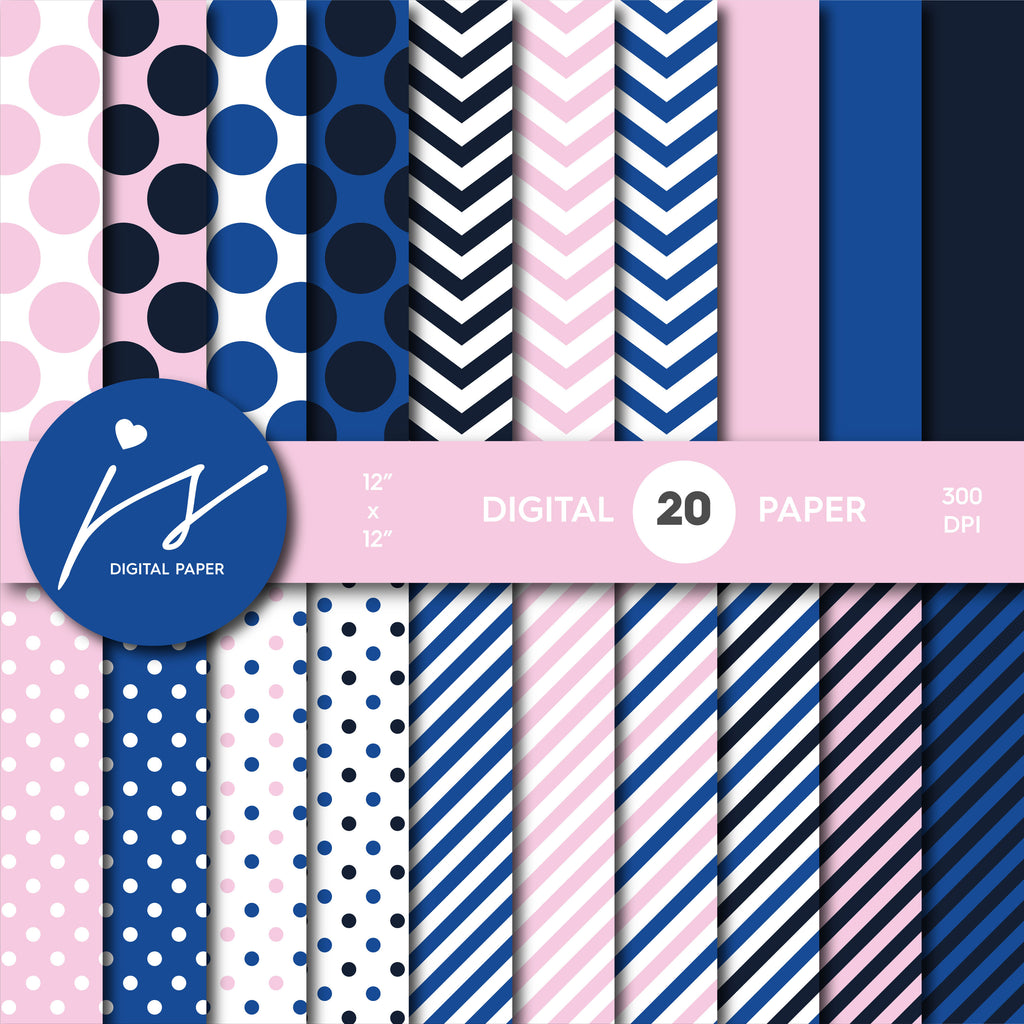 Pink and royal blue digital paper with stripes, chevron and polka dots, MI-751