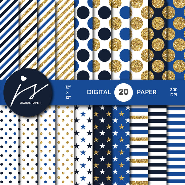 Royal blue and Navy blue glitter gold digital paper scrapbooking pattern, MI-754