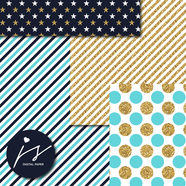 Turquoise and Navy blue glitter gold digital paper scrapbooking pattern, MI-755