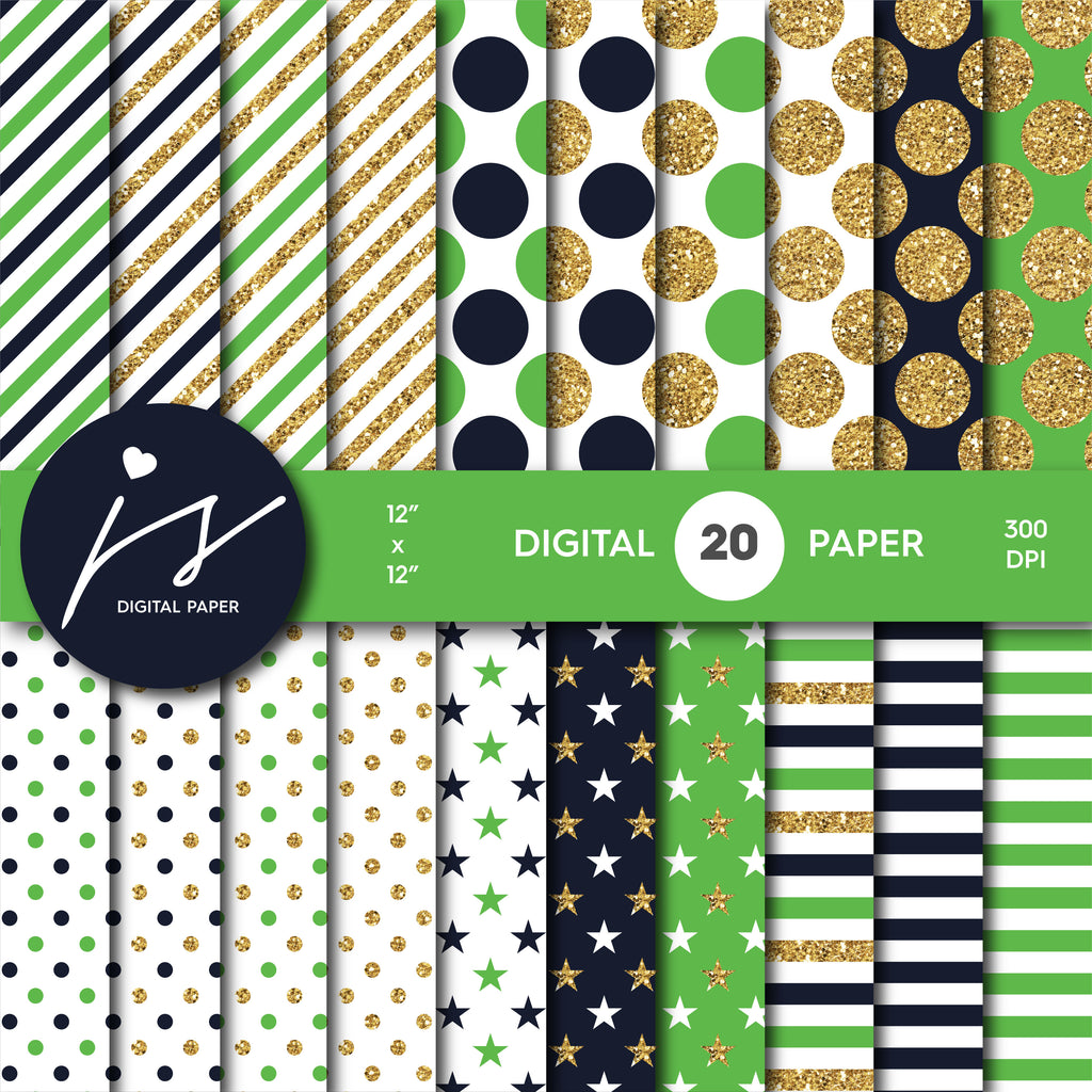 Green and Navy blue glitter gold digital paper scrapbooking pattern, MI-756