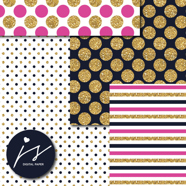 Hot pink and Navy blue glitter gold digital paper scrapbooking pattern, MI-757