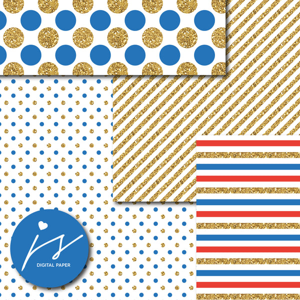 Red and Blue glitter gold digital paper scrapbooking pattern, MI-759