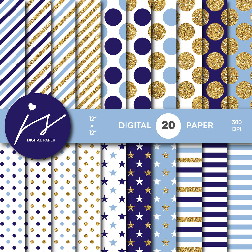 Blue glitter gold digital paper scrapbooking pattern, MI-761