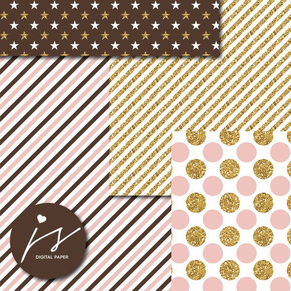 Pink and Brown glitter gold digital paper scrapbooking pattern, MI-762