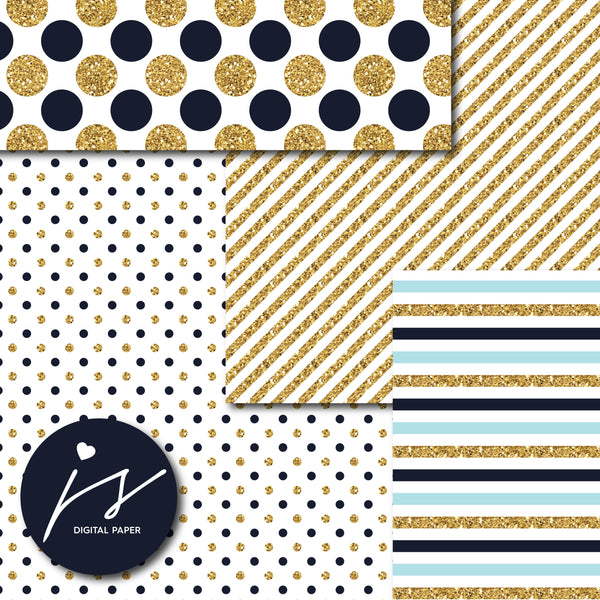 Baby blue and Navy blue glitter gold digital paper scrapbooking pattern, MI-766