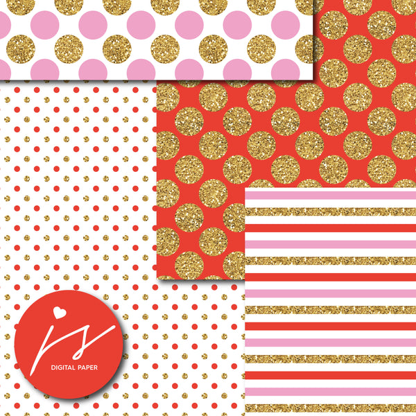 Pink and Red glitter gold digital paper scrapbooking pattern, MI-770