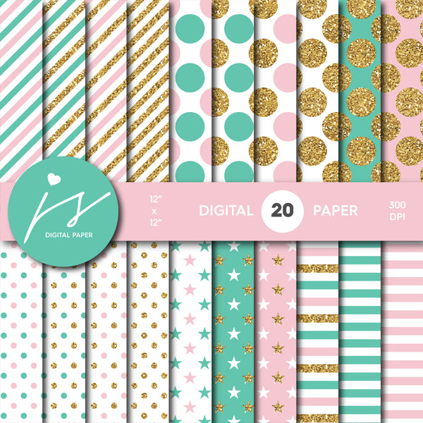 Pink and Turquoise glitter gold digital paper scrapbooking pattern, MI-774