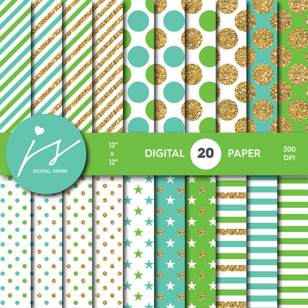 Green and Turquoise glitter gold digital paper scrapbooking pattern, MI-775
