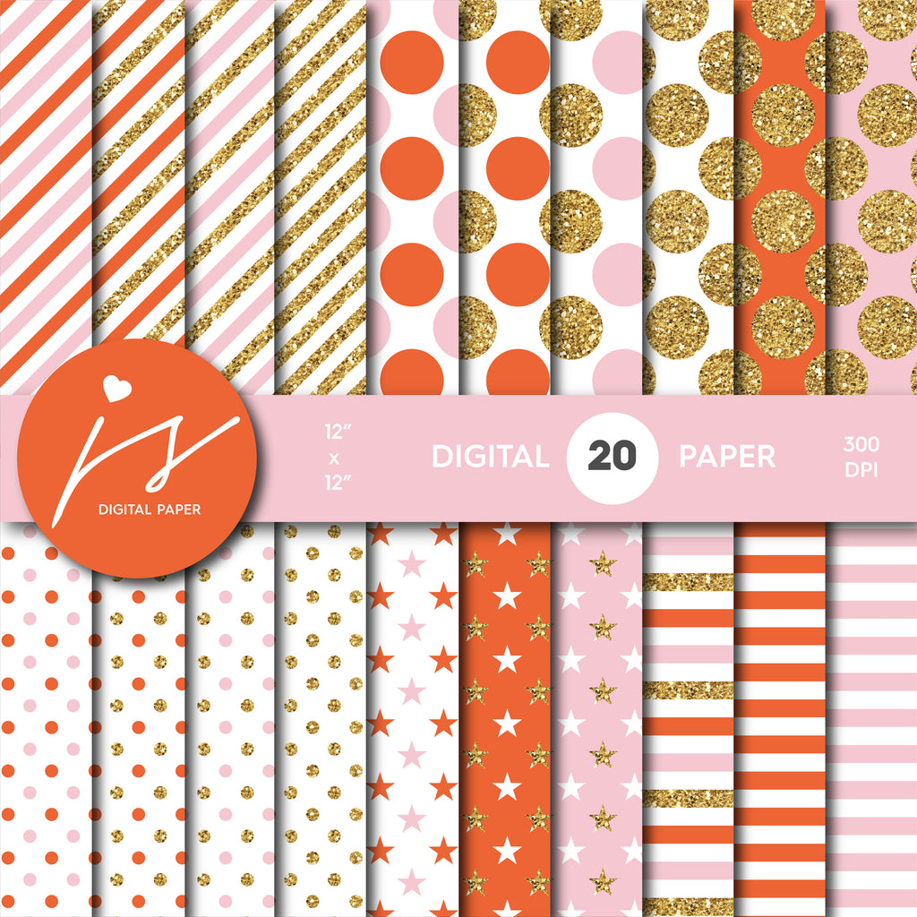 Pink and Orange glitter gold digital paper scrapbooking pattern, MI-777