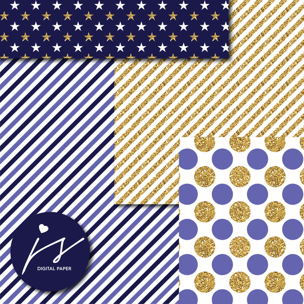Dark purple glitter gold digital paper scrapbooking pattern, MI-783