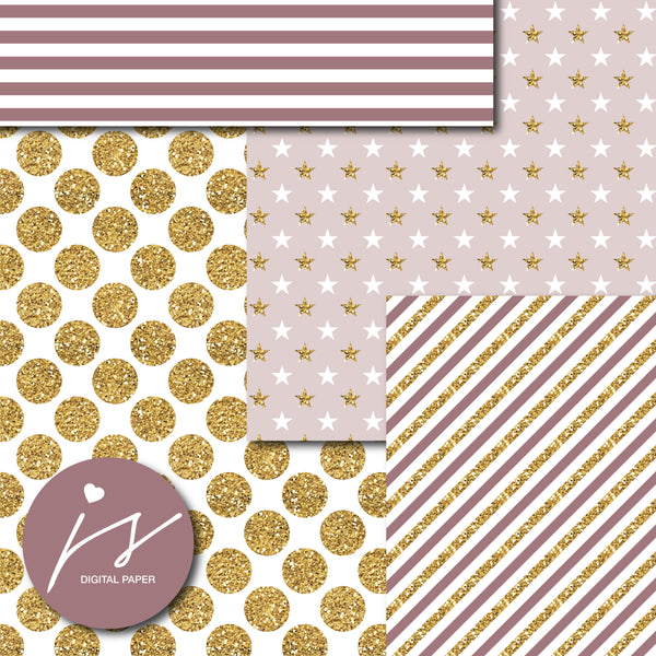 Mocca brown and beige digital paper with gold glitter, MI-788