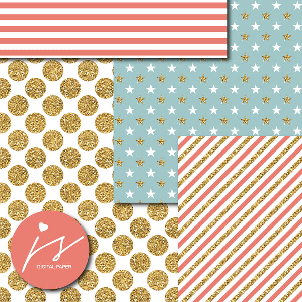 Big and small polka dots, Chevron, Stripes and Stars digital paper with gold glitter, MI-794