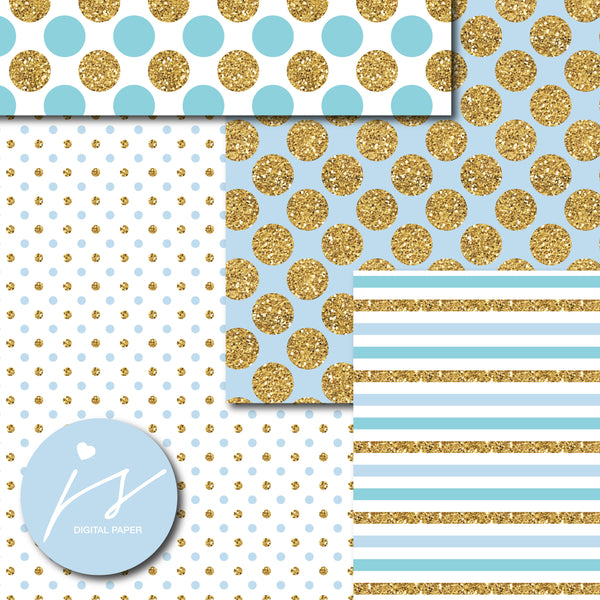 Light turquoise and baby blue digital paper with gold glitter, MI-798