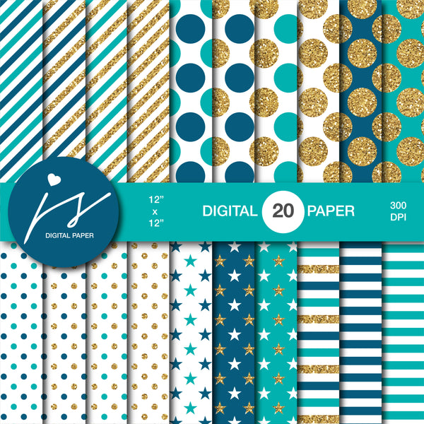 Teal digital paper with gold glitter, MI-799
