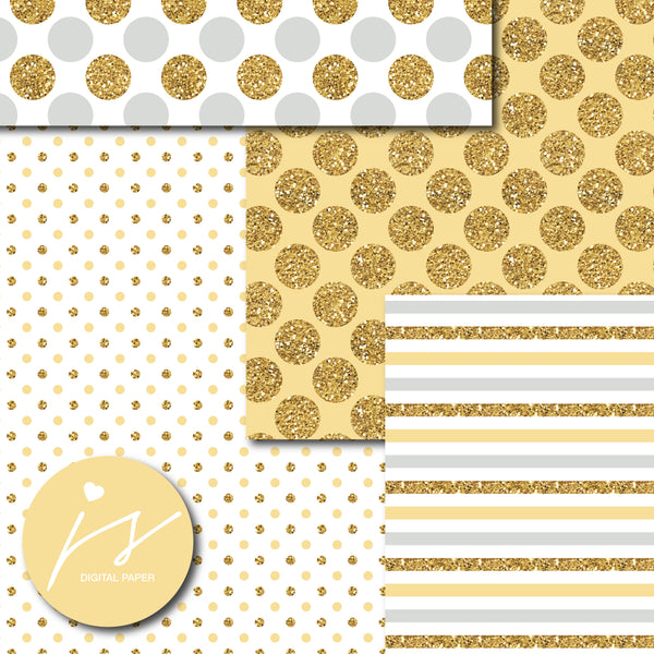 Yellow and light gray digital paper with gold glitter, MI-800