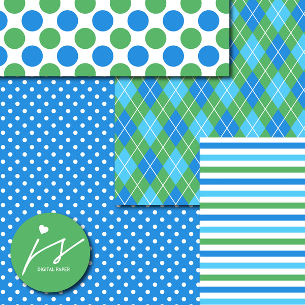 Blue and green digital paper with argyle, stars, polka dots, stripes, chevron and triangle designs, MI-834
