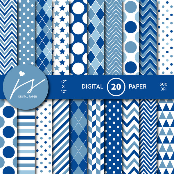 Blue digital paper with argyle, stars, polka dots, stripes, chevron and triangle designs, MI-835