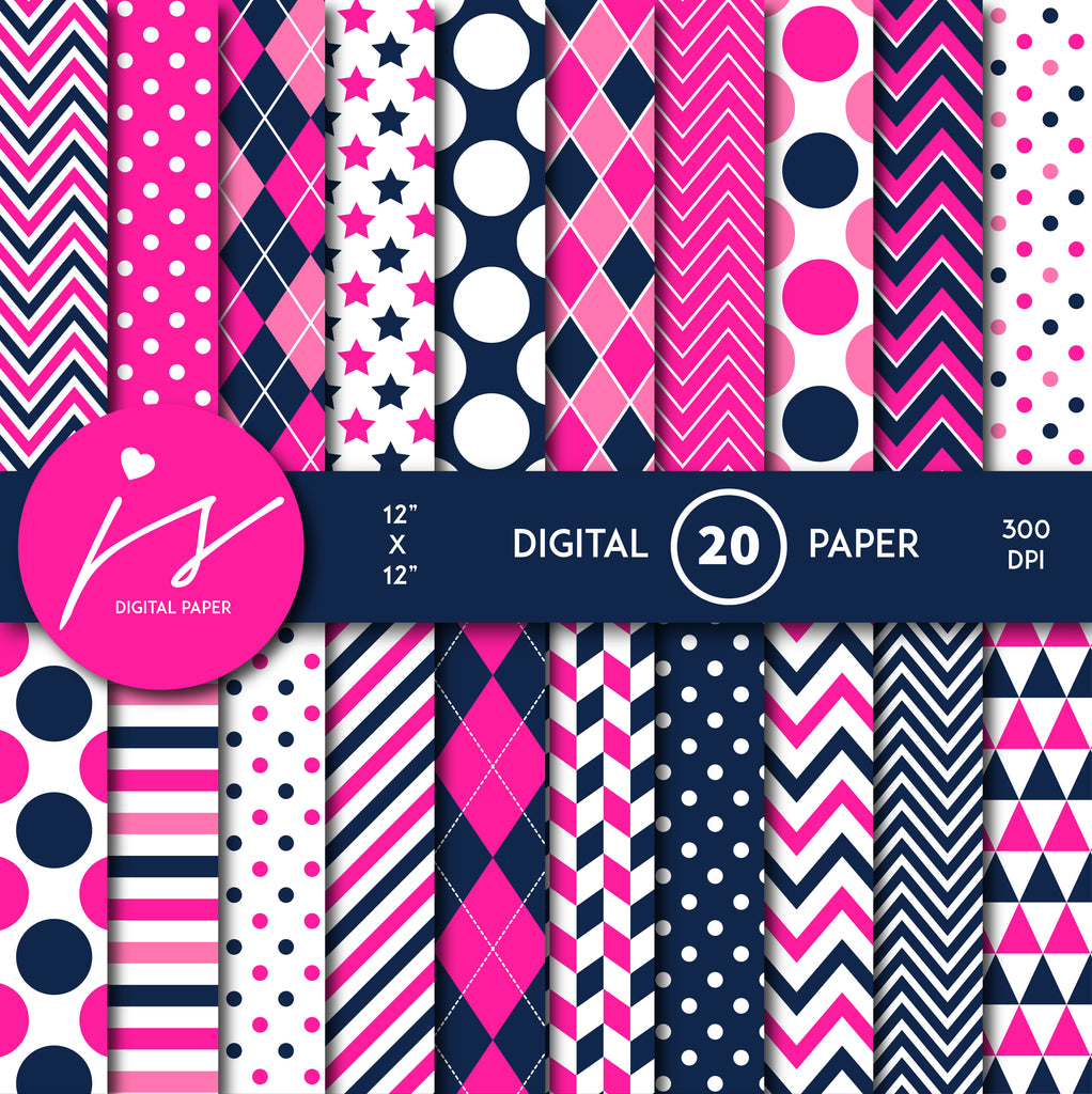 Hot pink and navy blue digital paper with argyle, stars, polka dots, stripes, chevron and triangle designs, MI-840
