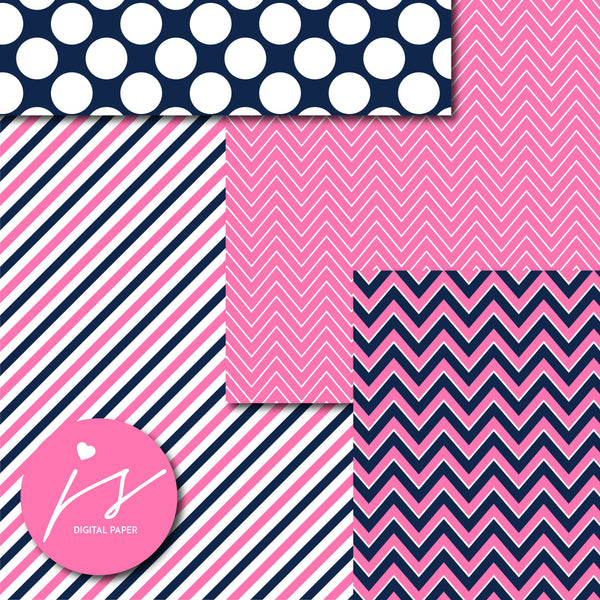 Pink and navy blue digital paper with argyle, stars, polka dots, stripes, chevron and triangle designs, MI-841