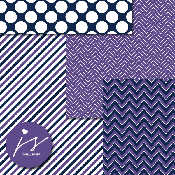 Purple digital paper with argyle, stars, polka dots, stripes, chevron and triangle designs, MI-842