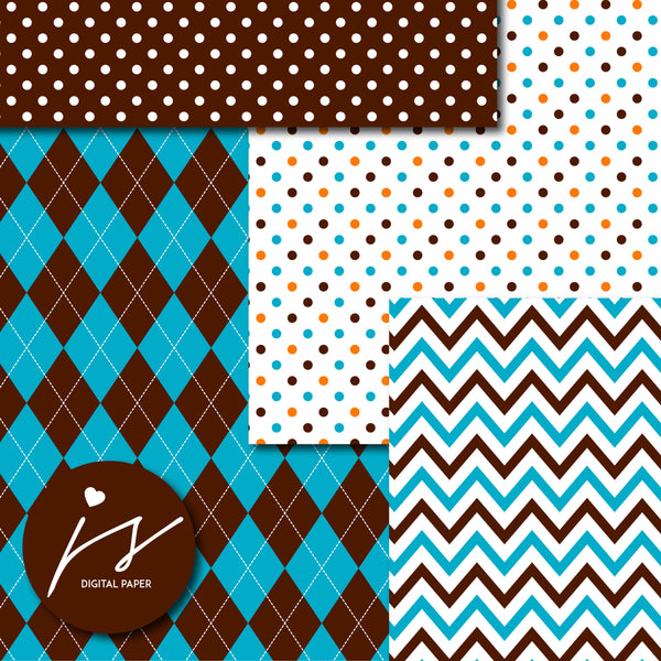 Teal, brown and orange digital paper with argyle, stars, polka dots, stripes, chevron and triangle designs, MI-845