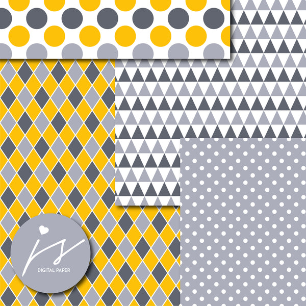 Gray and yellow digital paper with argyle, stars, polka dots, stripes, chevron and triangle designs, MI-849