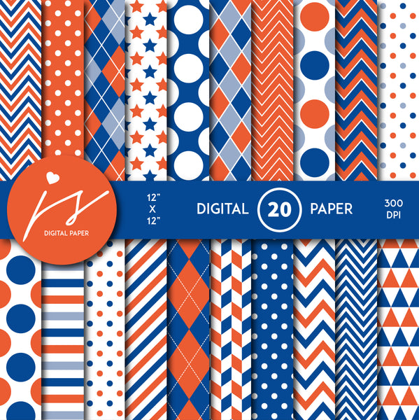 Royal blue and orange digital paper with argyle, stars, polka dots, stripes, chevron and triangle designs, MI-851