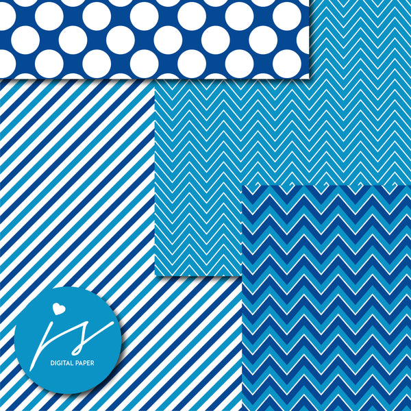 Blue digital scrapbooking paper with argyle, stars, polka dots, stripes, chevron and triangle designs, MI-852