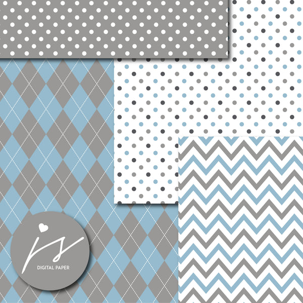 Dark gray and blue digital paper with argyle, stars, polka dots, stripes, chevron and triangle designs, MI-853