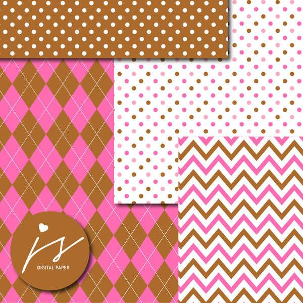 Chocolate brown and hot pink digital paper with argyle, stars, polka dots, stripes, chevron and triangle designs, MI-854