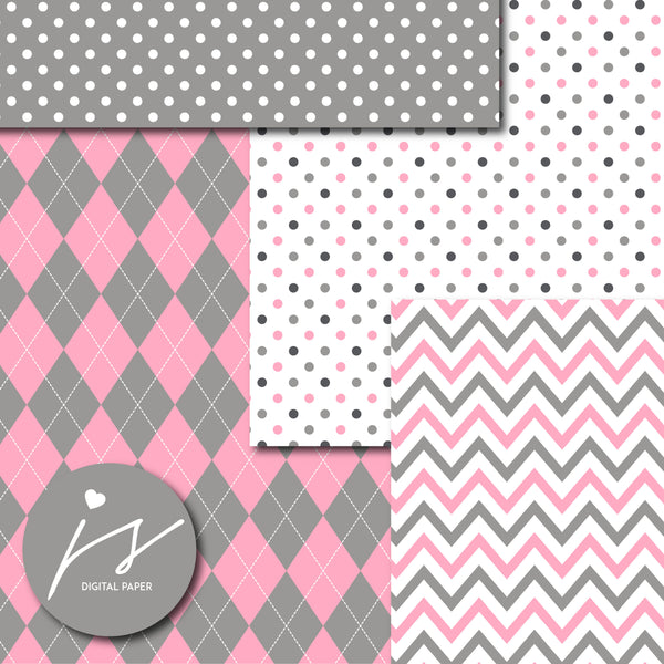 Pink and dark gray digital paper with argyle, stars, polka dots, stripes, chevron and triangle designs, MI-857