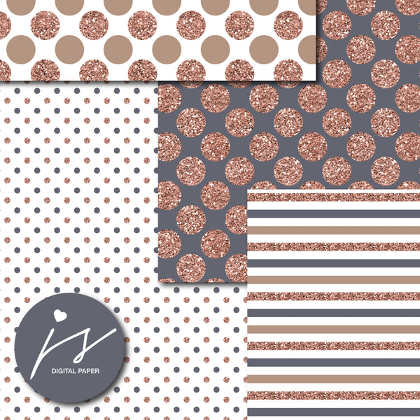 Brown rose gold glitter digital paper, MI-899