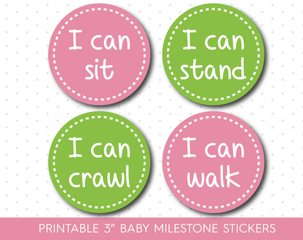 Pink and Green baby milestone stickers, Green Printable monthly milestone stickers, MS-04
