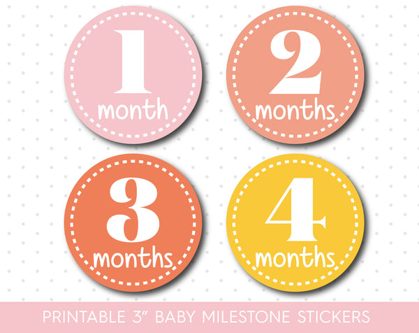 Pink Peach and Yellow baby milestone stickers, Yellow Printable monthly milestone stickers, MS-09