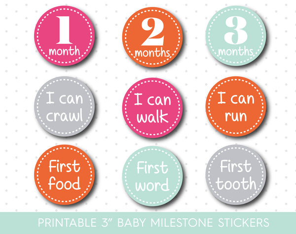 Pink Orange and Mint baby milestone stickers, Hot Pink Printable monthly milestone stickers, MS-11