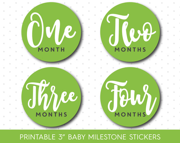 Green monthly milestone stickers in black and white text with babies first 12 months, MS-21