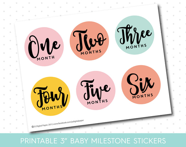 Coral Pink and Mint monthly milestone stickers in black and white text with babies first 12 months, MS-38