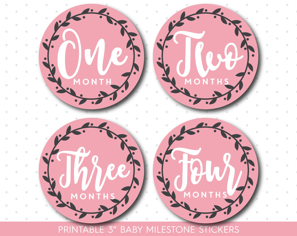 Pink monthly baby milestone stickers with babies first 12 months, MS-50